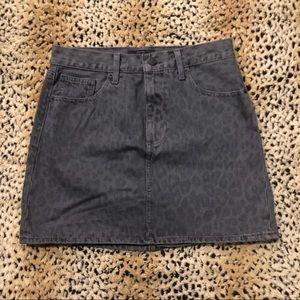 Lucky brand grey leopard print denim mini skirt